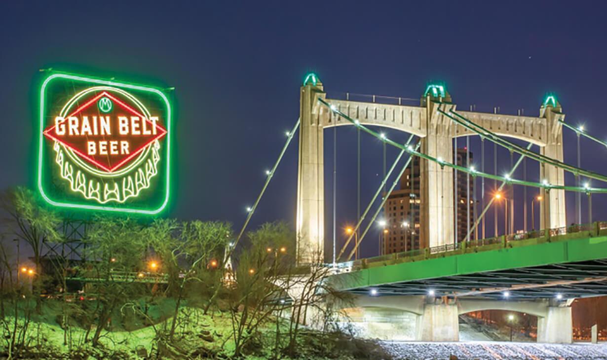Grain Belt Bridge in Minneapolis with LED Lighting